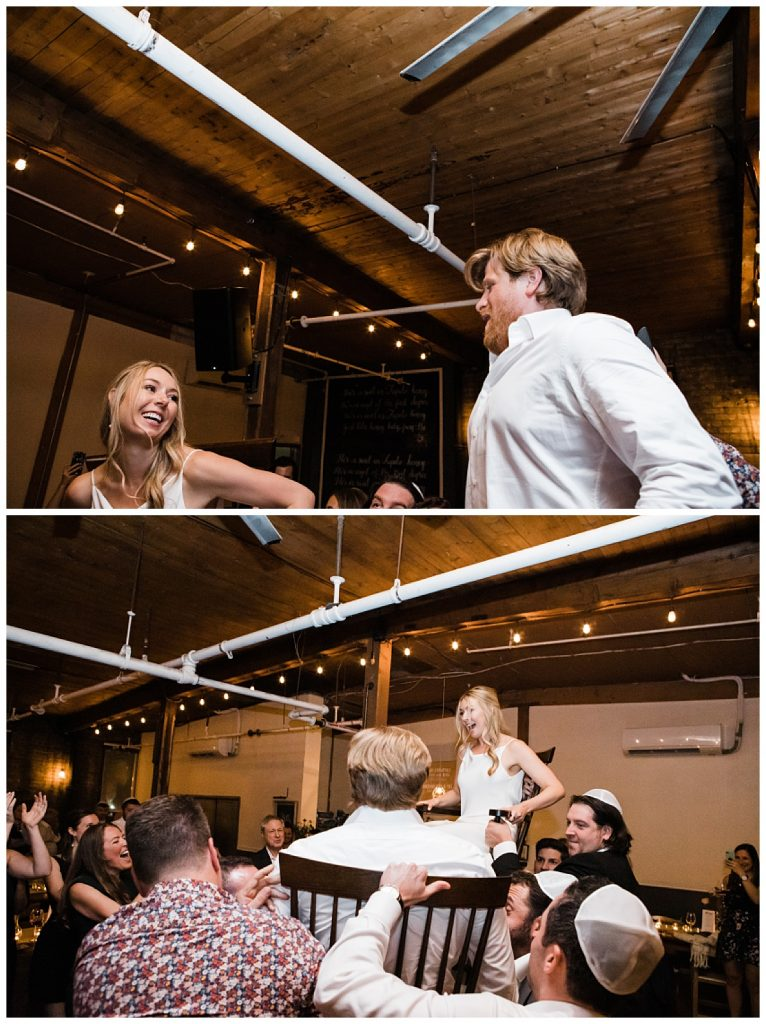 Bride and groom in Jewish Hora dance tradition