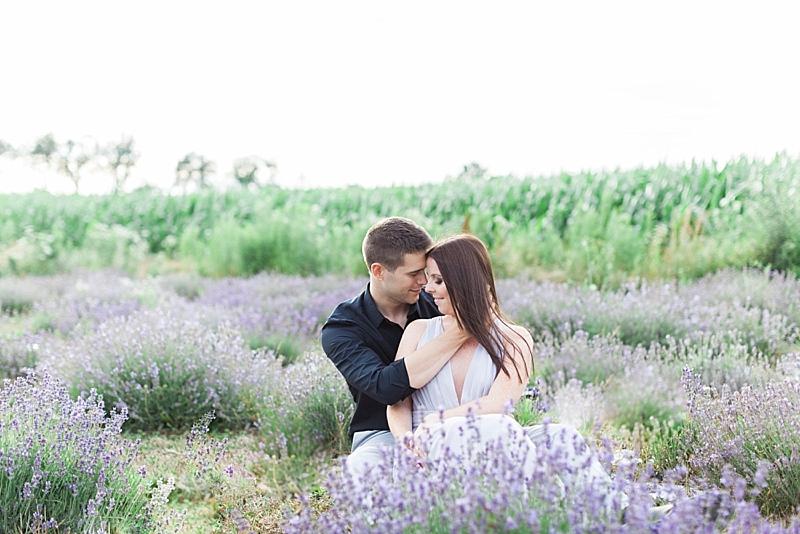 Lavender Field Engagement Photos Ontario