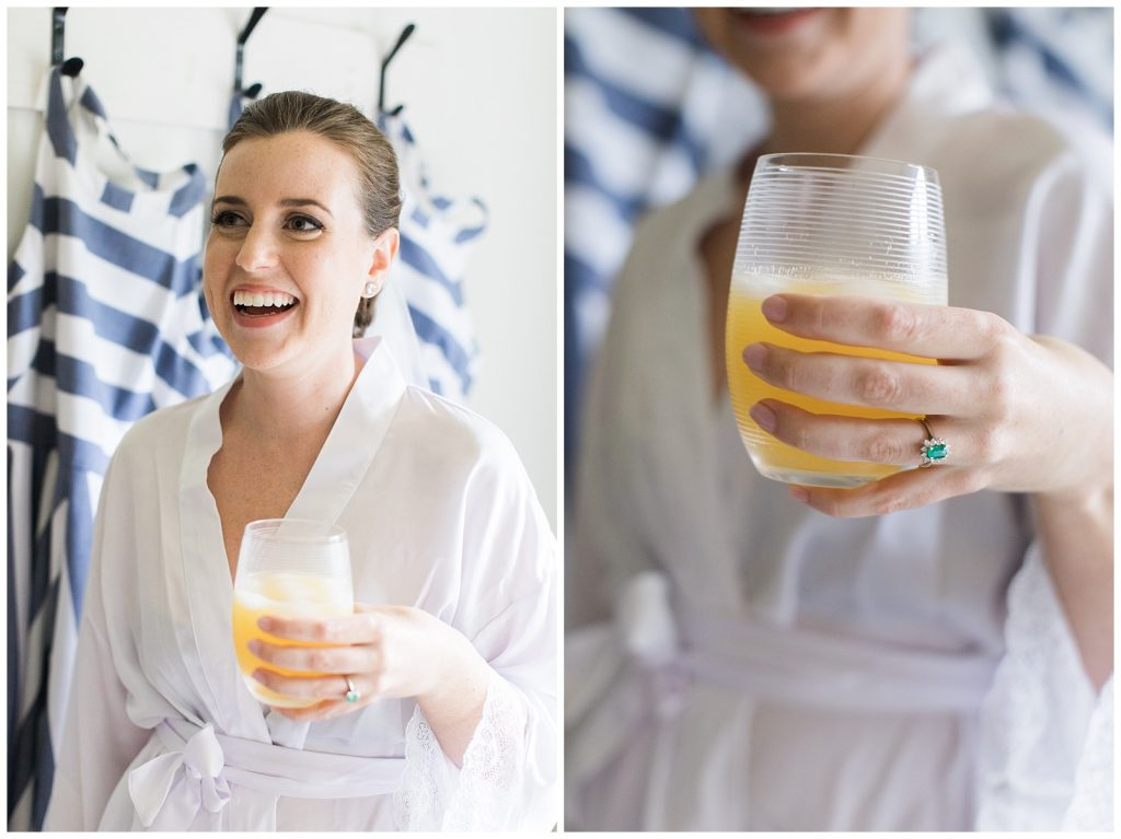 Bride having a mimosa and showing off her ring at Guelph Ontario Wedding | Ontario Wedding Photographer | Toronto Wedding Photographer | 3photography
