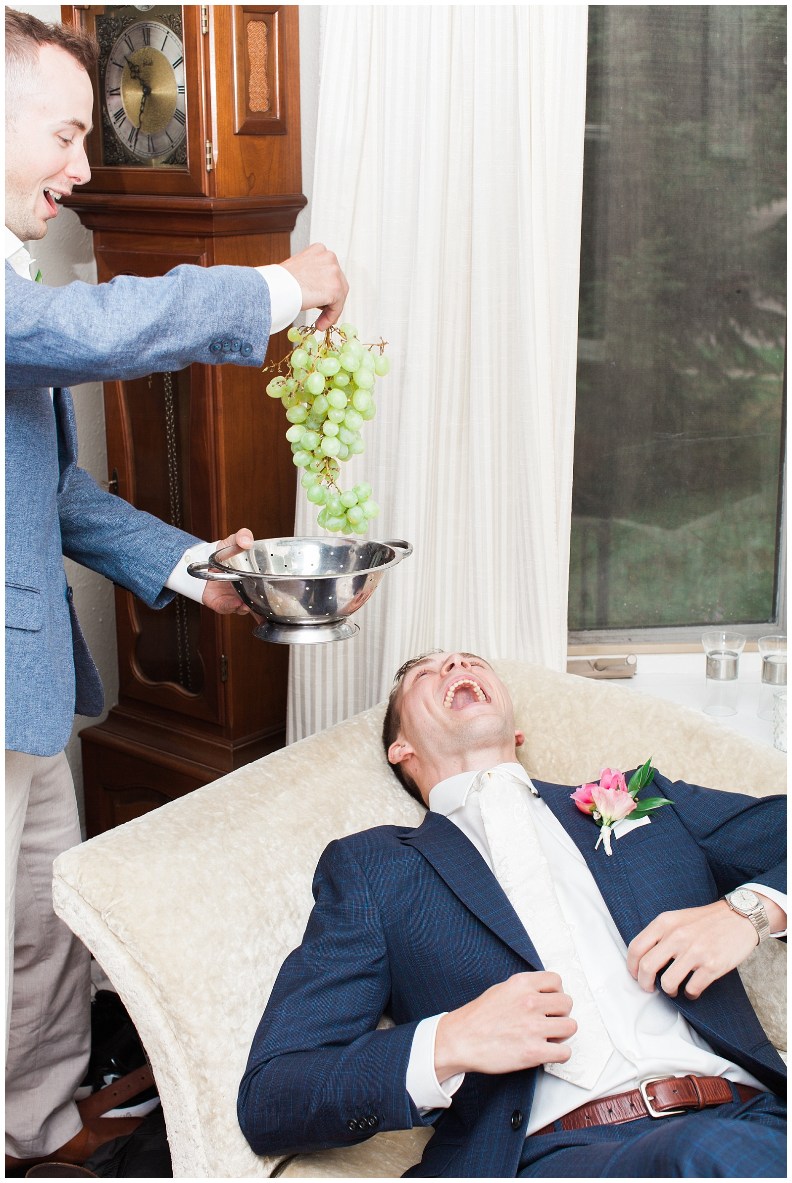Fun photo of groom laying down pretending to be fed at Guelph Ontario Wedding | Ontario Wedding Photographer | Toronto Wedding Photographer | 3photography
