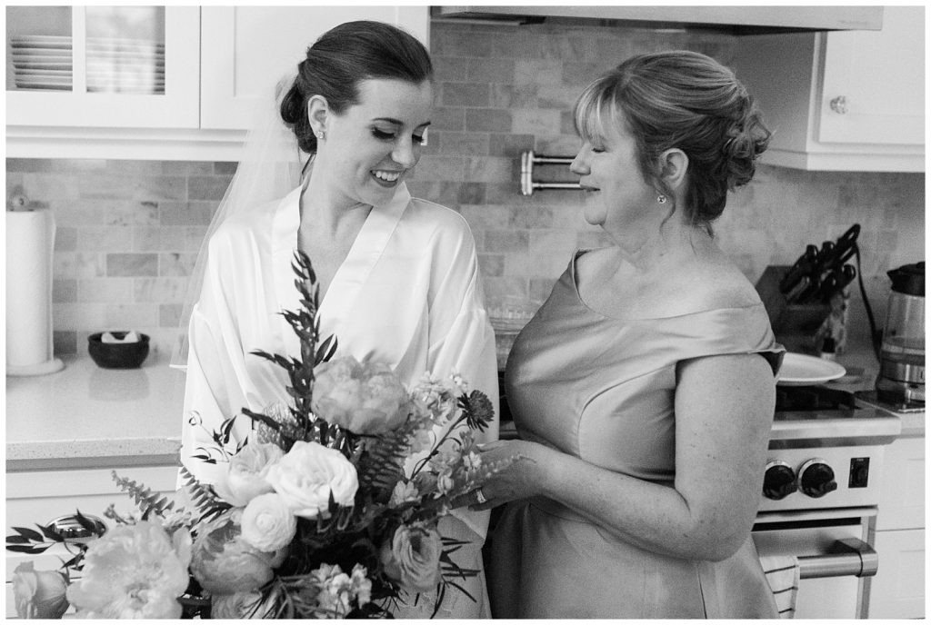 Black and white photo of bride with her mother at Guelph Ontario Wedding | Ontario Wedding Photographer | Toronto Wedding Photographer | 3photography