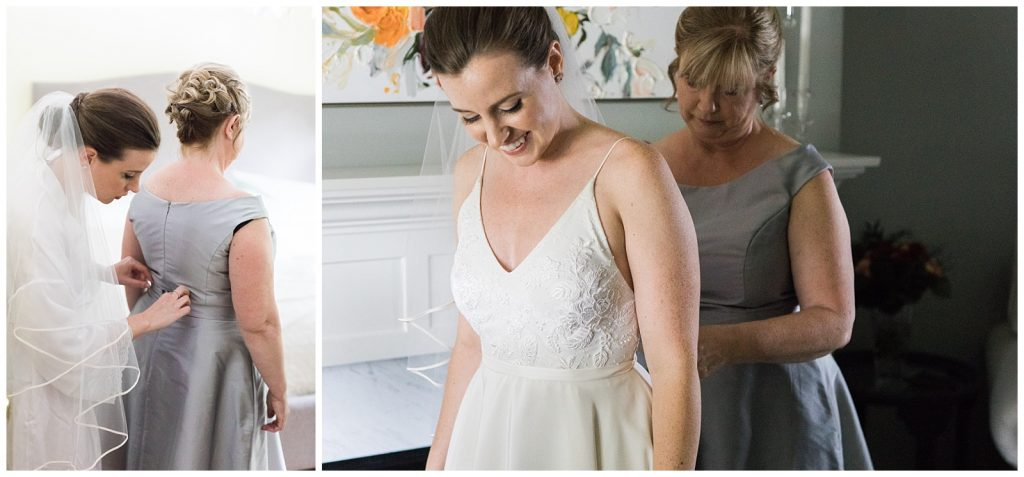 Bride smiling while being zipped into dress by mother at Guelph Ontario Wedding | Ontario Wedding Photographer | Toronto Wedding Photographer | 3photography