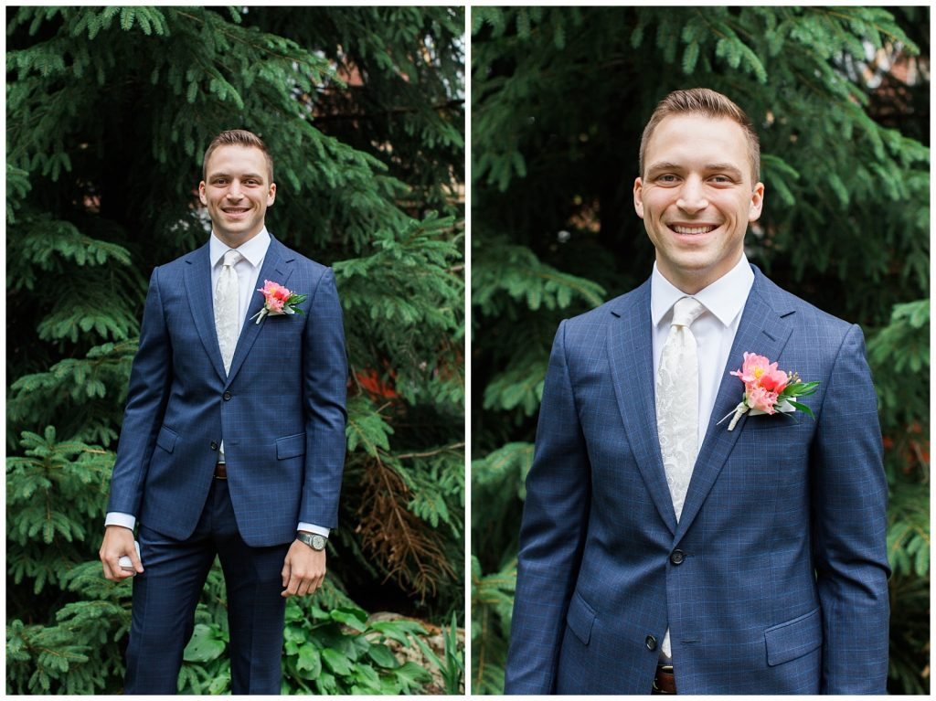 Smiling groom in navy with pink boutonnière at Guelph Ontario Wedding | Ontario Wedding Photographer | Toronto Wedding Photographer | 3photography