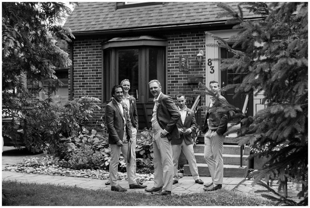 Groomsmen hanging out before ceremony at Guelph Ontario Wedding | Ontario Wedding Photographer | Toronto Wedding Photographer | 3photography