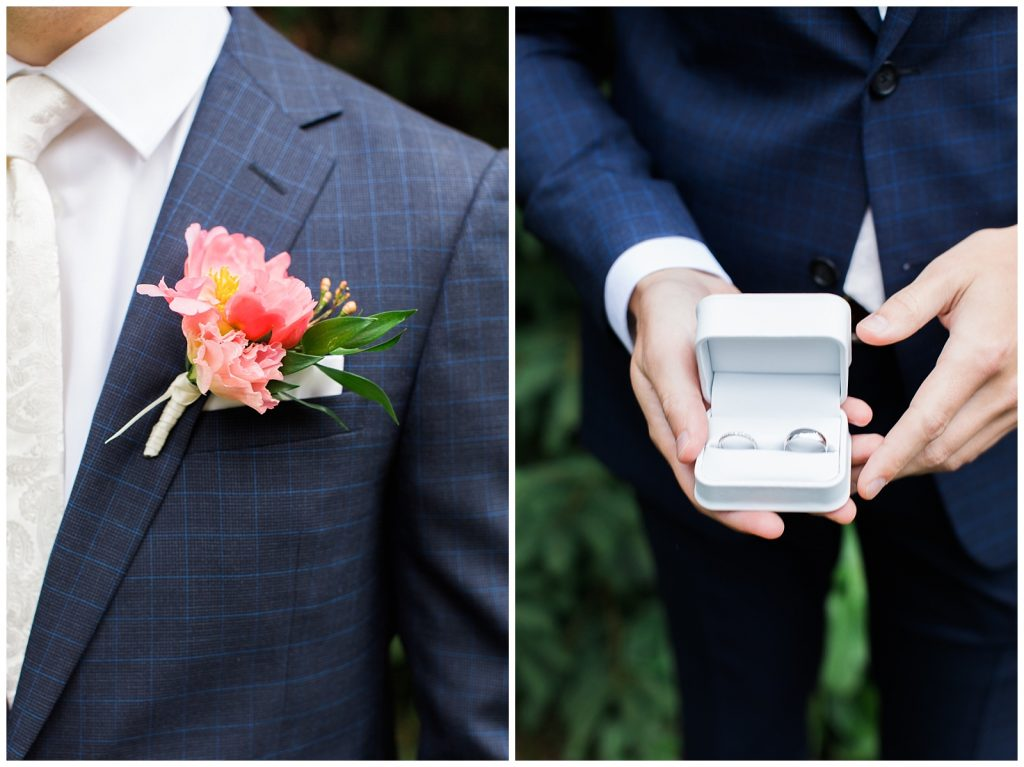 Close up of bridal rings and boutonnere at Guelph Ontario Wedding | Ontario Wedding Photographer | Toronto Wedding Photographer | 3photography