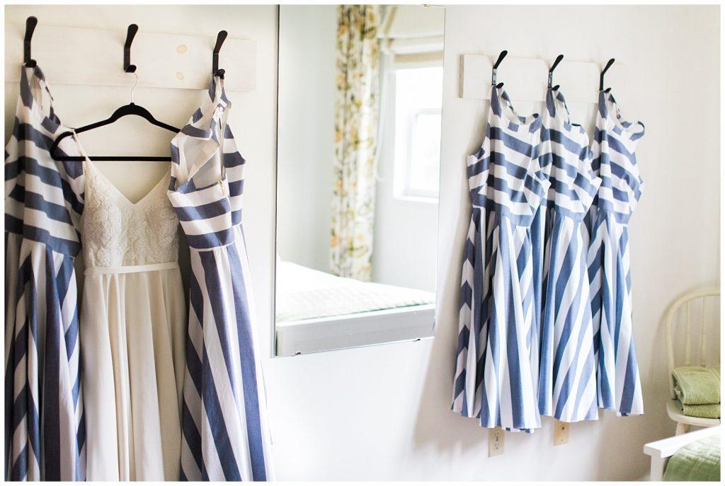 Wedding dress hidden among navy and white bridesmaids dresses at Guelph Ontario Wedding | Ontario Wedding Photographer | Toronto Wedding Photographer | 3photography