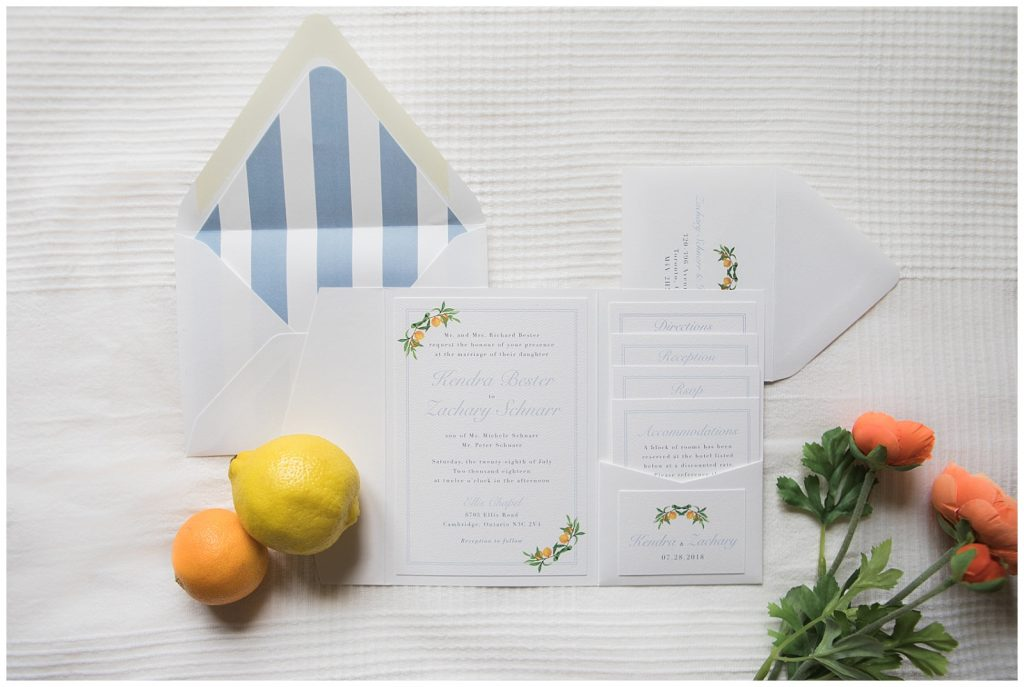 Wedding invitations with clementine and lemon at Guelph Ontario Wedding | Ontario Wedding Photographer | Toronto Wedding Photographer | 3photography