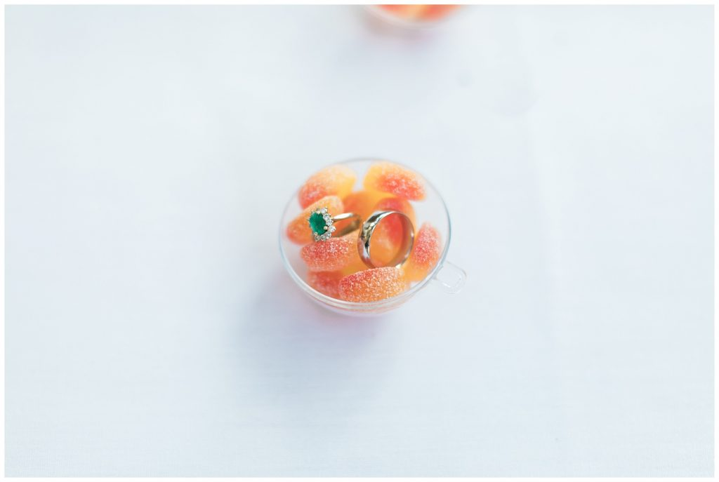 Bride's emerald ring in a little bowl of clementines at Guelph Ontario Wedding | Ontario Wedding Photographer | Toronto Wedding Photographer | 3photography