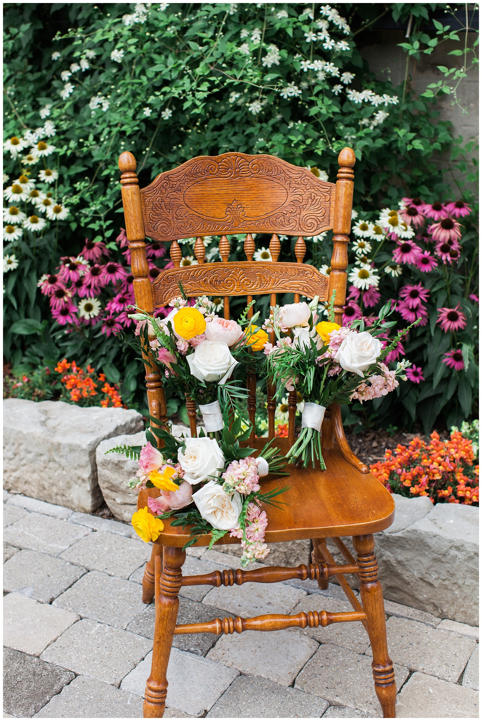 Flower bouquet on antique chair at Guelph Ontario Wedding | Ontario Wedding Photographer | Toronto Wedding Photographer | 3photography