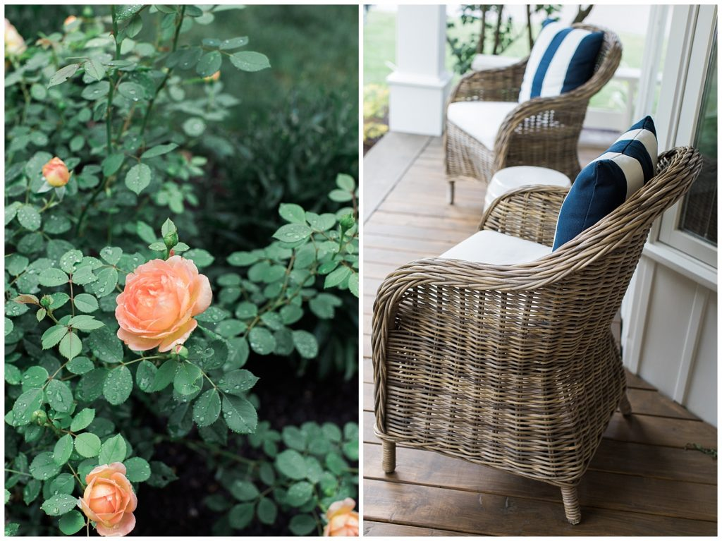 Flower details and cozy porch seating at Guelph Ontario Wedding | Ontario Wedding Photographer | Toronto Wedding Photographer | 3photography