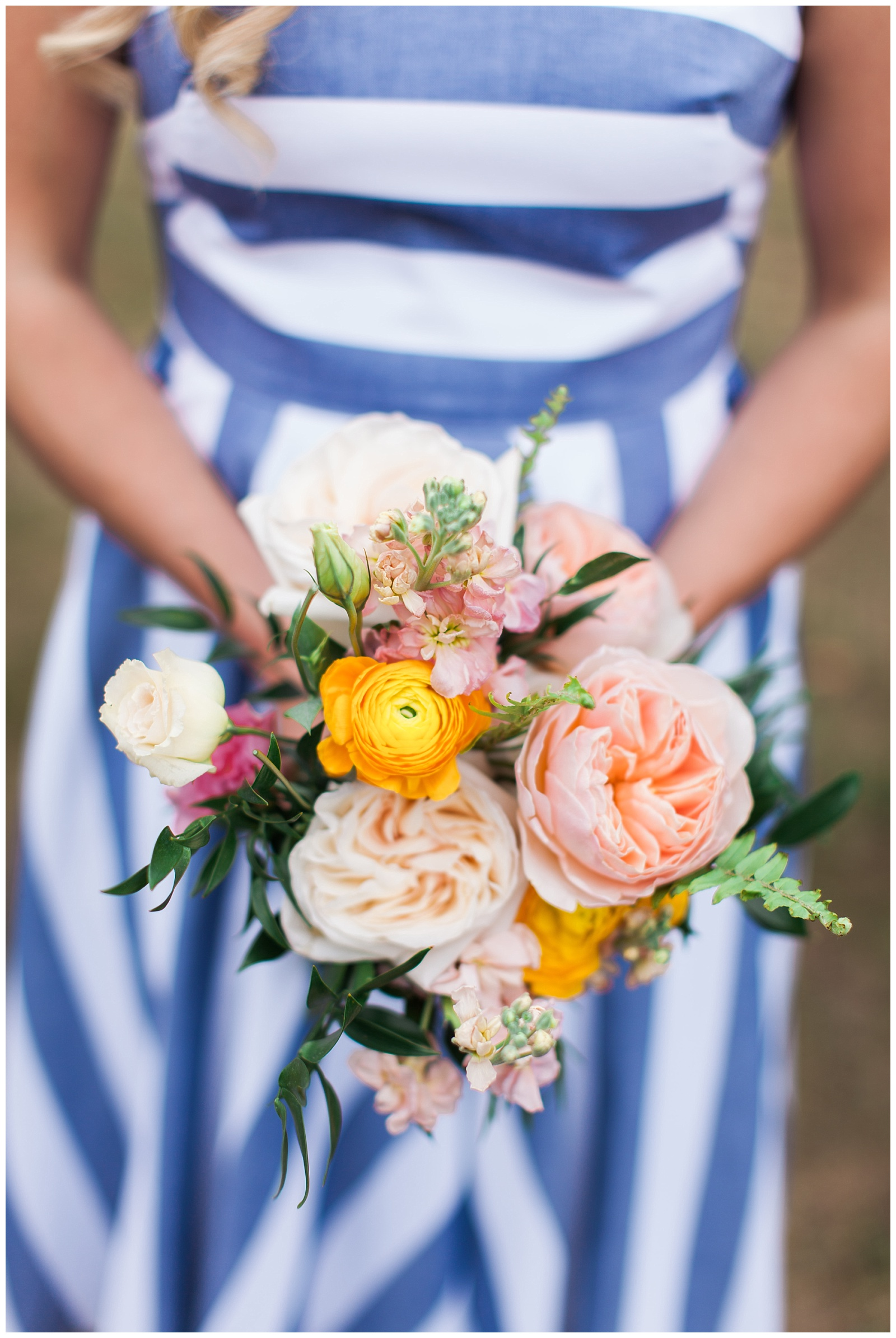 Bridesmaid bouquet with blue and white dress at Guelph Ontario Wedding | Ontario Wedding Photographer | Toronto Wedding Photographer | 3photography