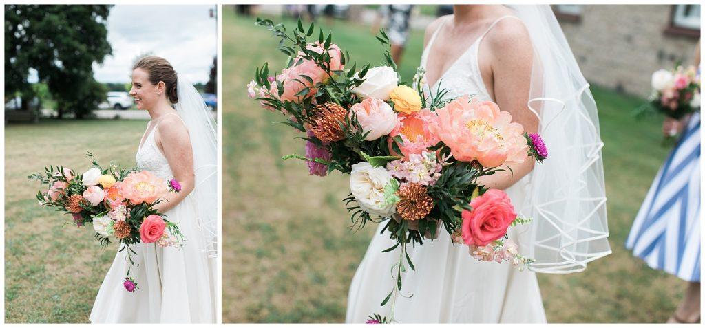 Happy bride with her bouquet at Guelph Ontario Wedding | Ontario Wedding Photographer | Toronto Wedding Photographer | 3photography