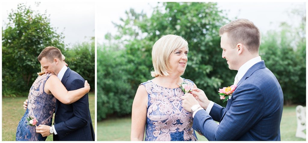 Groom pinning corsage on his mother at Guelph Ontario Wedding | Ontario Wedding Photographer | Toronto Wedding Photographer | 3photography