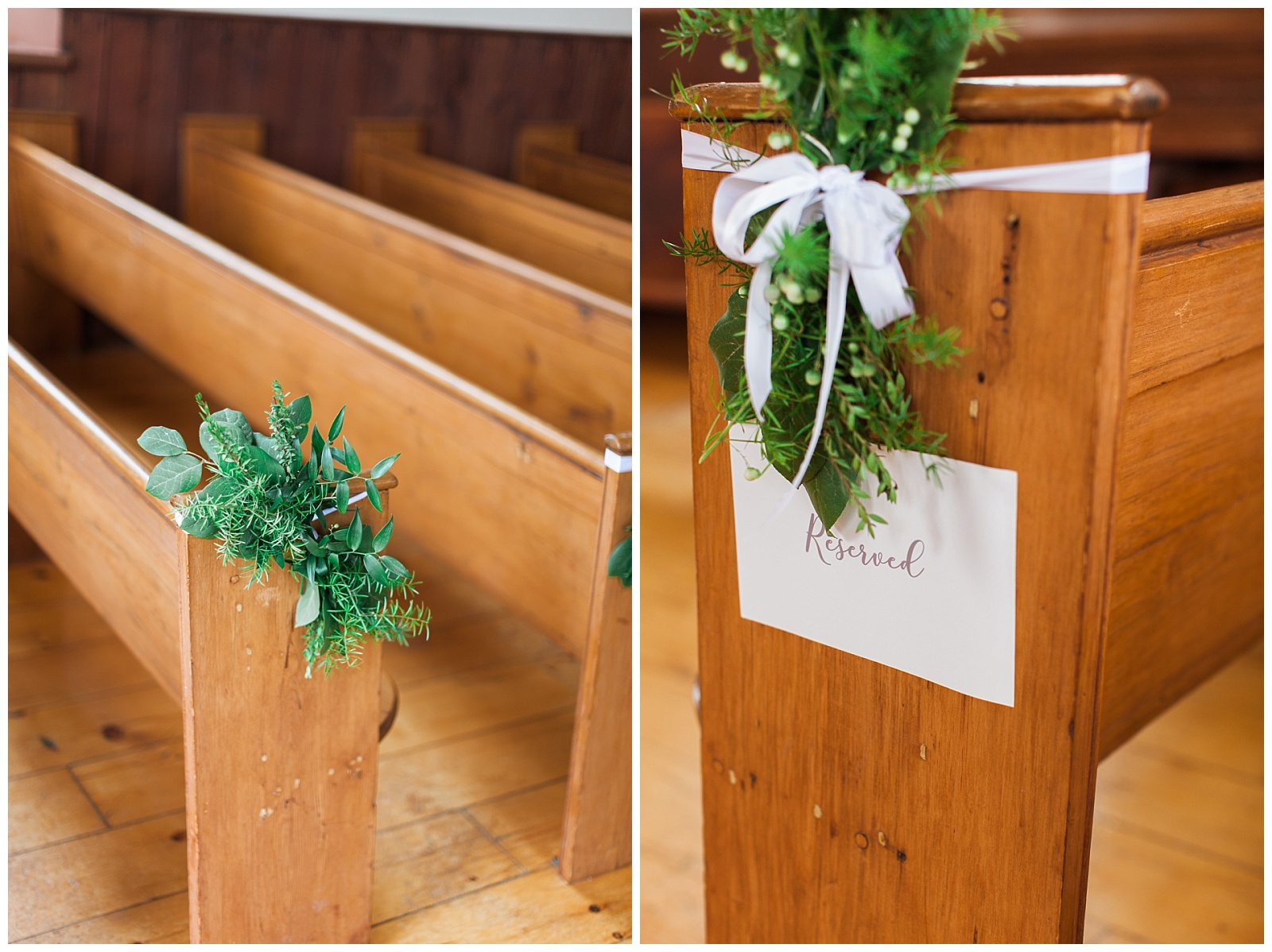 Details of garland on the pews in church at Guelph Ontario Wedding | Ontario Wedding Photographer | Toronto Wedding Photographer | 3photography