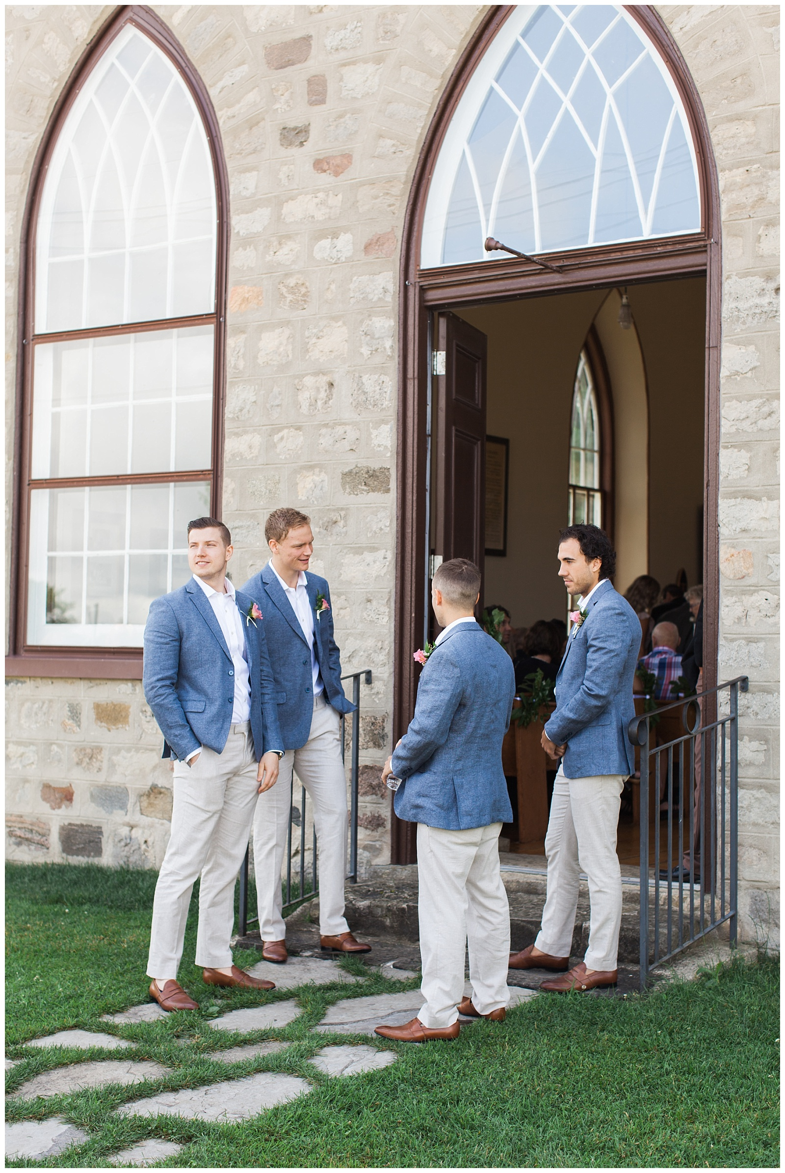 Groomsmen lining the door to the church at Guelph Ontario Wedding | Ontario Wedding Photographer | Toronto Wedding Photographer | 3photography