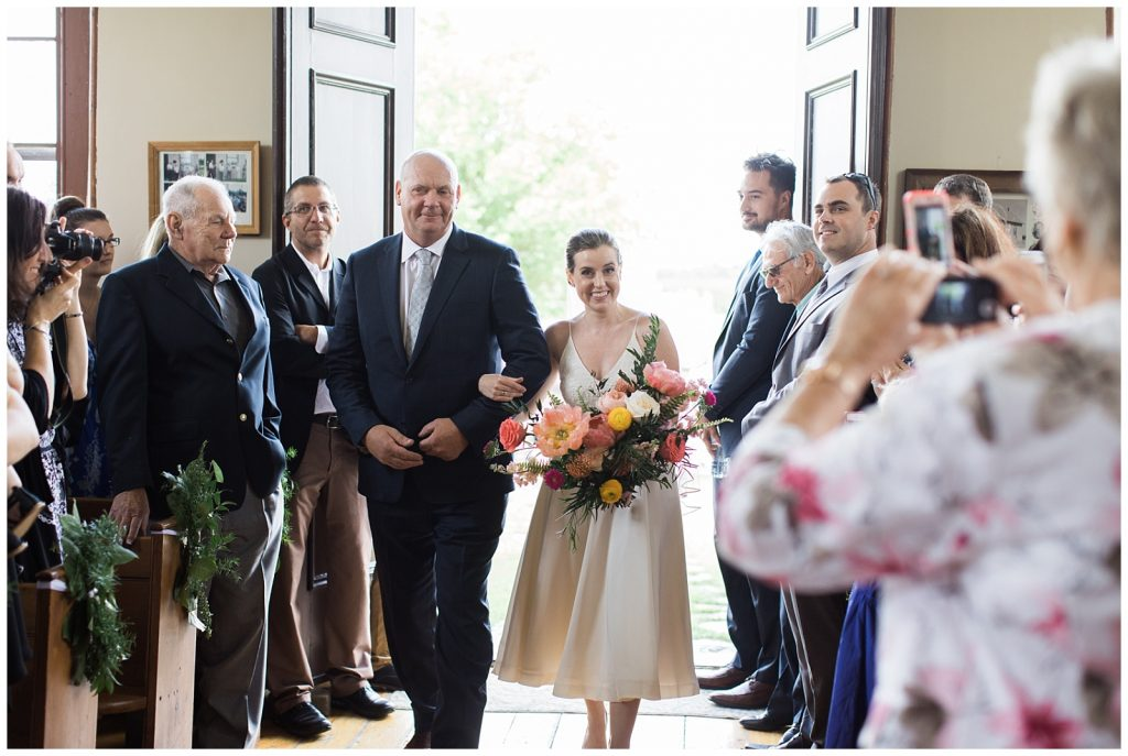 Bride walking down the aisle with her father at Guelph Ontario Wedding | Ontario Wedding Photographer | Toronto Wedding Photographer | 3photography