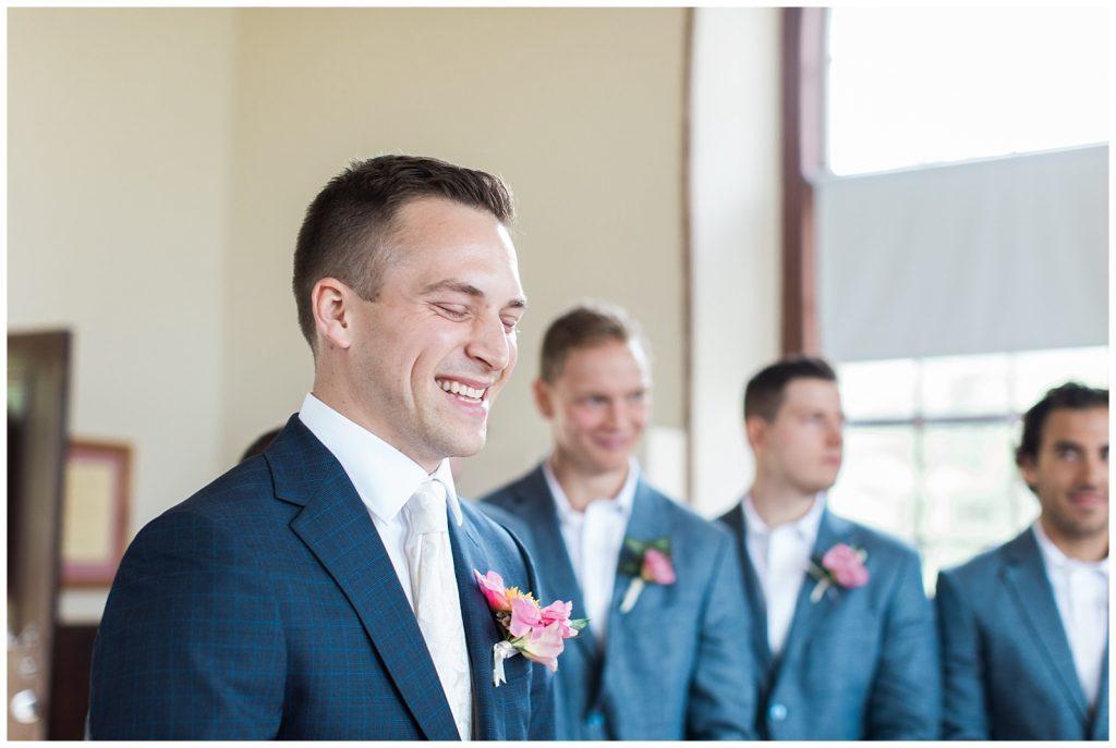 Groom smiling hard at alter at Guelph Ontario Wedding | Ontario Wedding Photographer | Toronto Wedding Photographer | 3photography