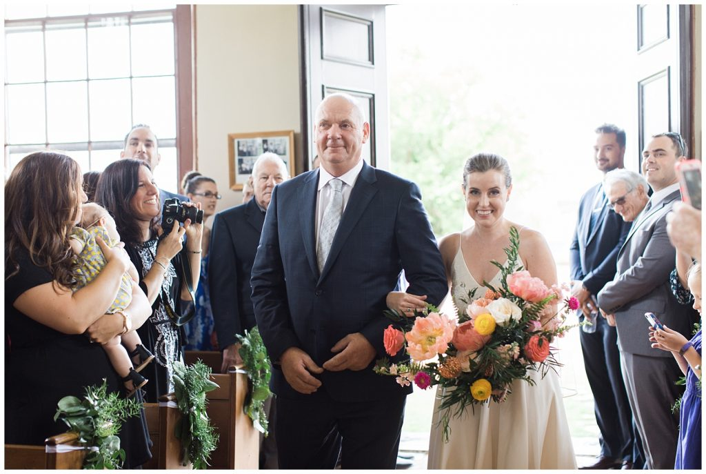 Bride walking down aisle with her father at Guelph Ontario Wedding | Ontario Wedding Photographer | Toronto Wedding Photographer | 3photography