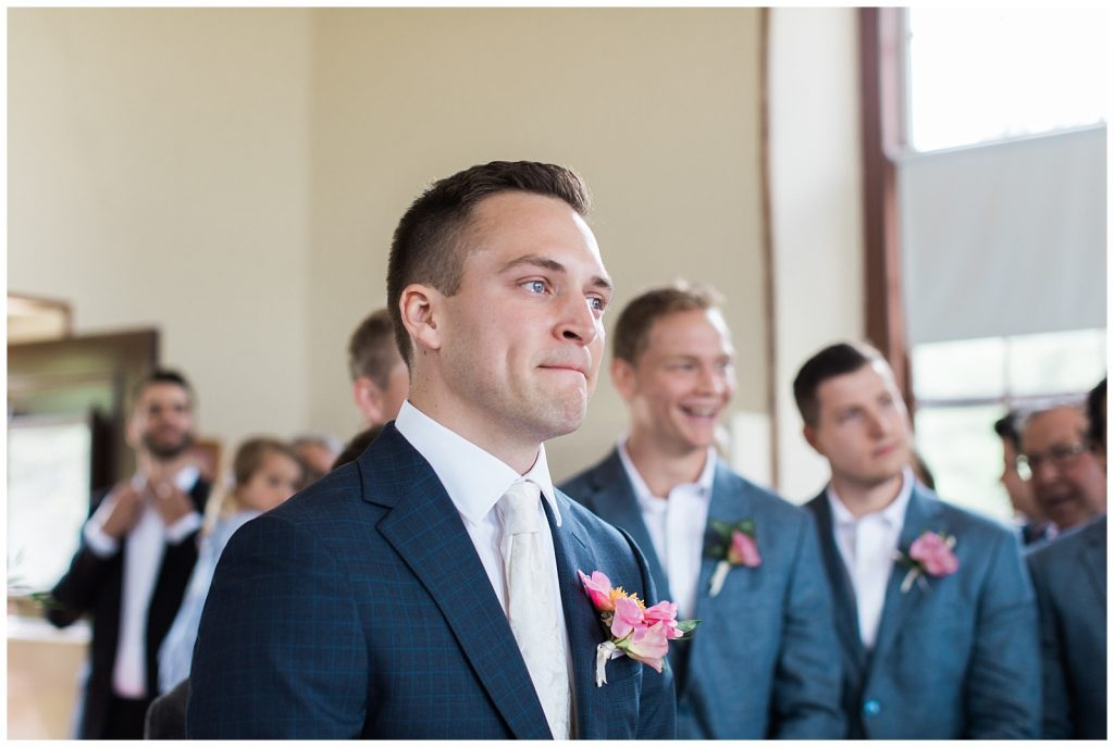 Groom tries not to cry after seeing bride at Guelph Ontario Wedding | Ontario Wedding Photographer | Toronto Wedding Photographer | 3photography