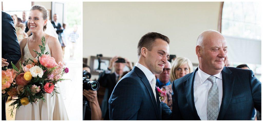 Groom reactions to seeing bride at Guelph Ontario Wedding | Ontario Wedding Photographer | Toronto Wedding Photographer | 3photography