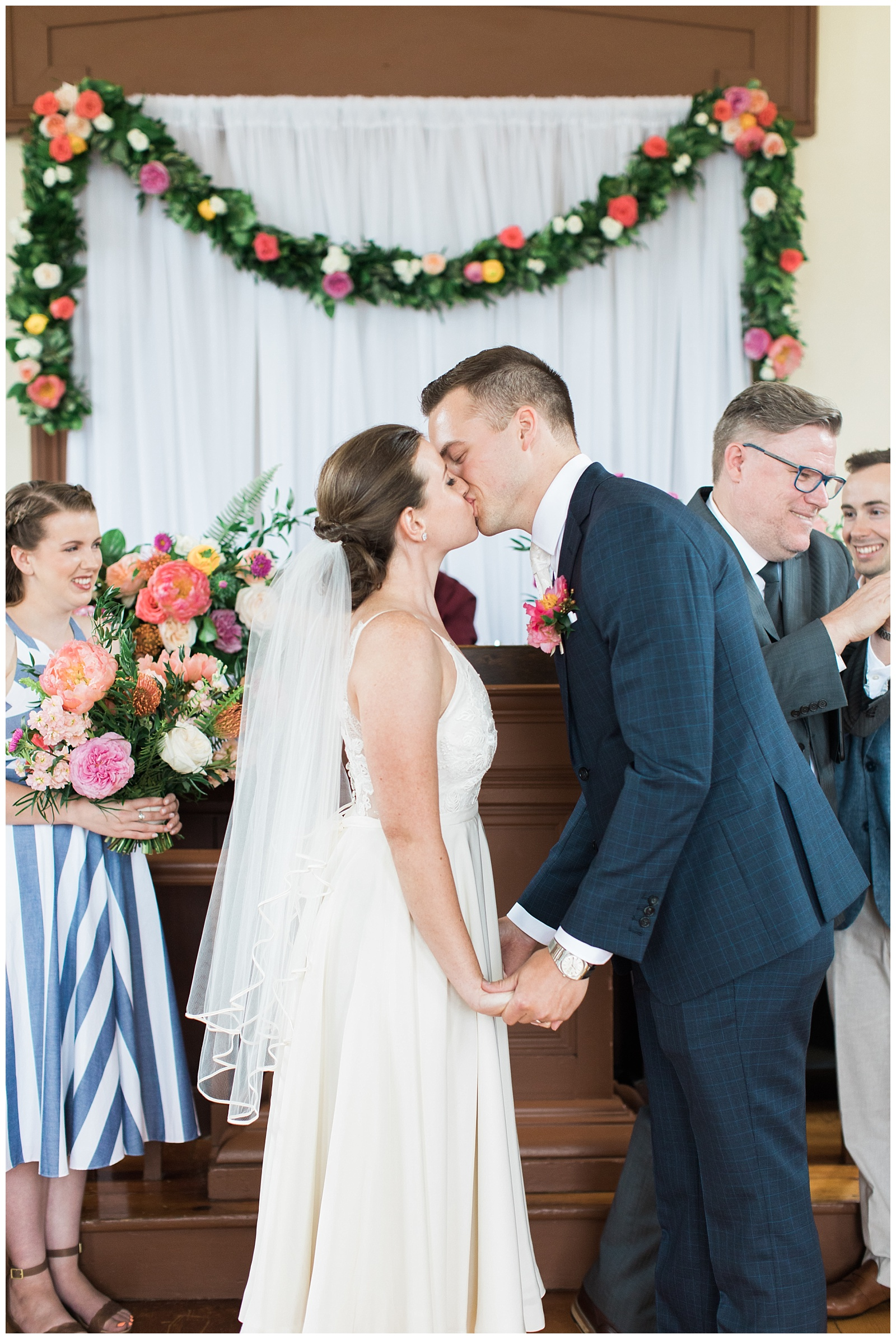 Bride and groom kiss at alter at Guelph Ontario Wedding | Ontario Wedding Photographer | Toronto Wedding Photographer | 3photography