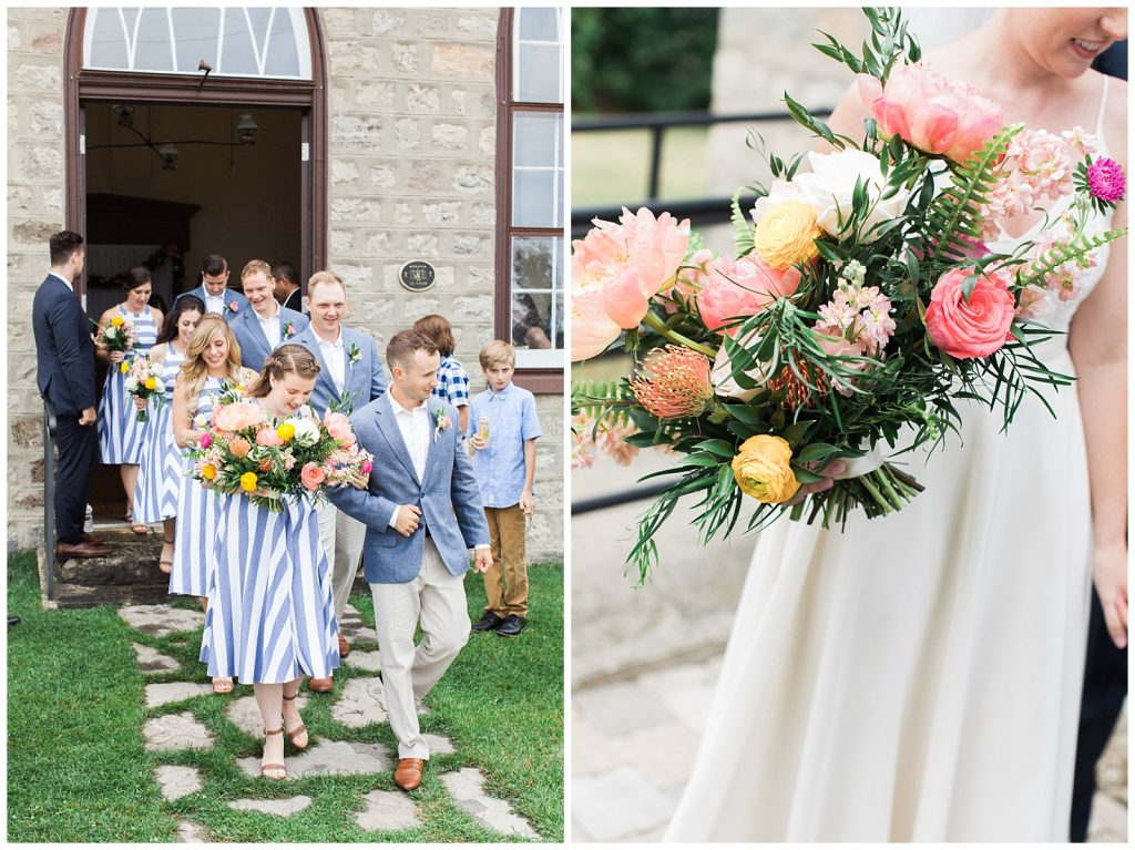 Bridal party walking out of the church at Guelph Ontario Wedding | Ontario Wedding Photographer | Toronto Wedding Photographer | 3photography