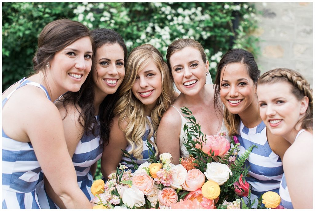 Bridesmaids huddled together smiling at Guelph Ontario Wedding | Ontario Wedding Photographer | Toronto Wedding Photographer | 3photography