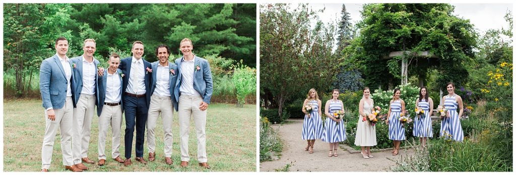 Summery groomsmen bridesmaids photos in beautiful garden at Guelph Ontario Wedding | Ontario Wedding Photographer | Toronto Wedding Photographer | 3photography
