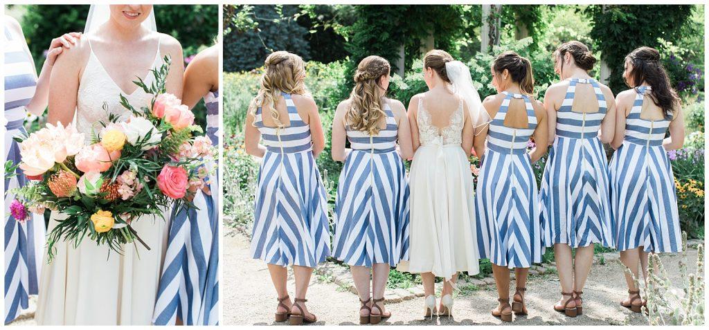 Bridesmaids black and white striped dress details at Guelph Ontario Wedding | Ontario Wedding Photographer | Toronto Wedding Photographer | 3photography