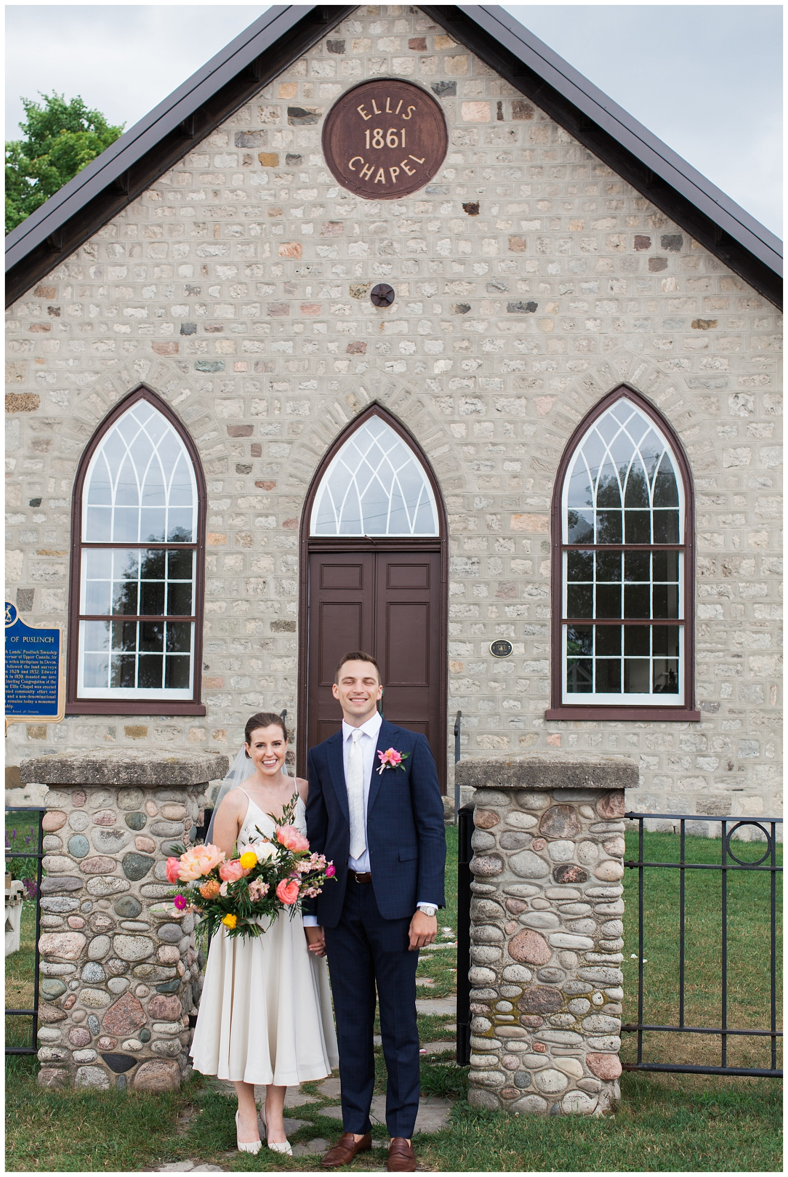 Bride and groom smiling in front of chapel at Guelph Ontario Wedding | Ontario Wedding Photographer | Toronto Wedding Photographer | 3photography