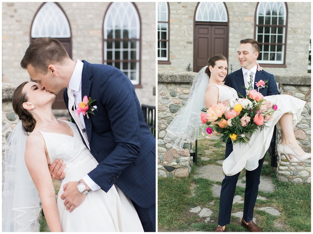 Groom carrying bride and kissing in front of chapel at Guelph Ontario Wedding | Ontario Wedding Photographer | Toronto Wedding Photographer | 3photography
