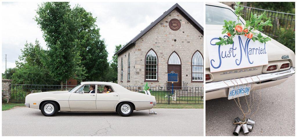 Bride and groom in getaway car in front of chapel at Guelph Ontario Wedding | Ontario Wedding Photographer | Toronto Wedding Photographer | 3photography