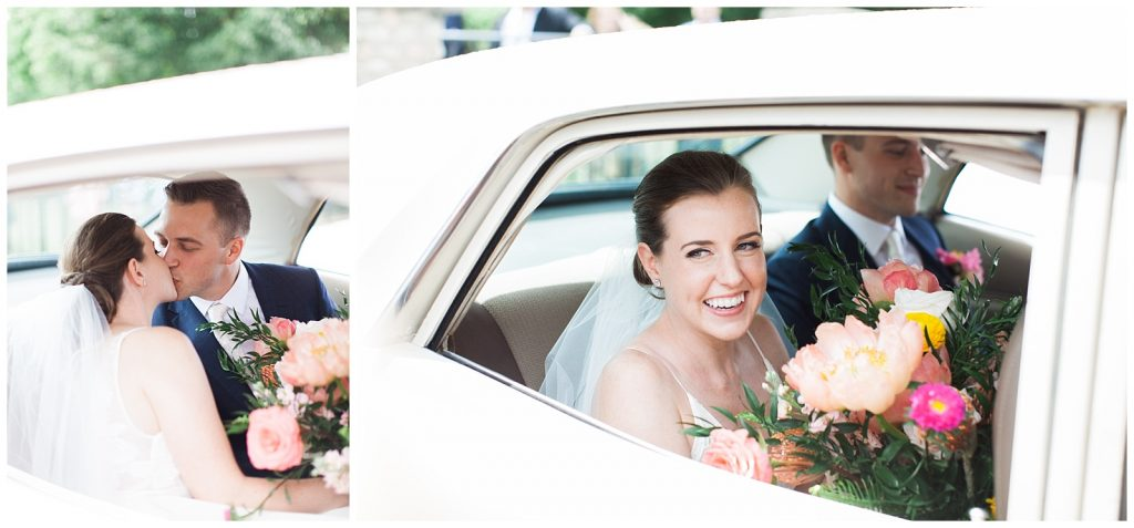 Bride and groom smiling in getaway car at Guelph Ontario Wedding | Ontario Wedding Photographer | Toronto Wedding Photographer | 3photography
