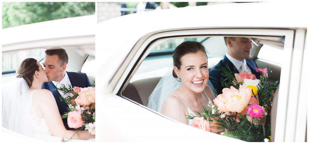 Bride and groom smiling in getaway car at Guelph Ontario Wedding | Ontario Wedding Photographer | Toronto Wedding Photographer | 3photography