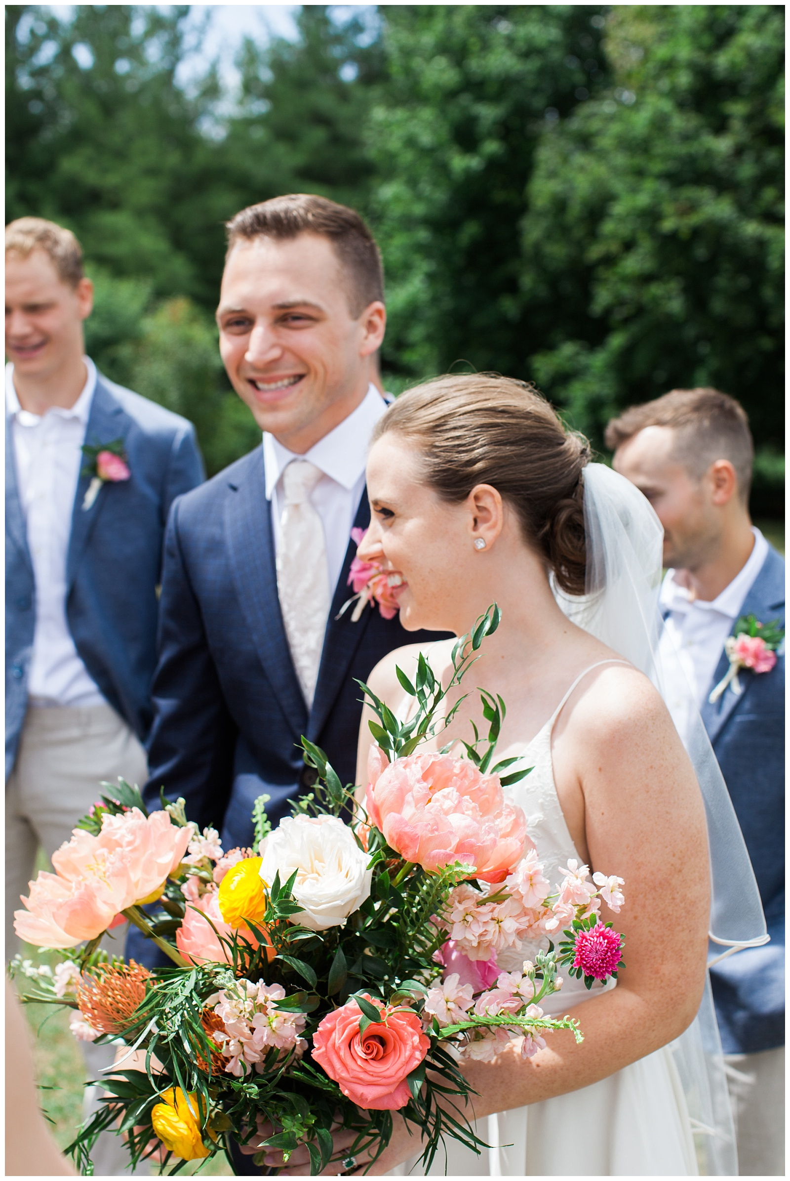 Bride and groom outside smiling after ceremony at Guelph Ontario Wedding | Ontario Wedding Photographer | Toronto Wedding Photographer | 3photography