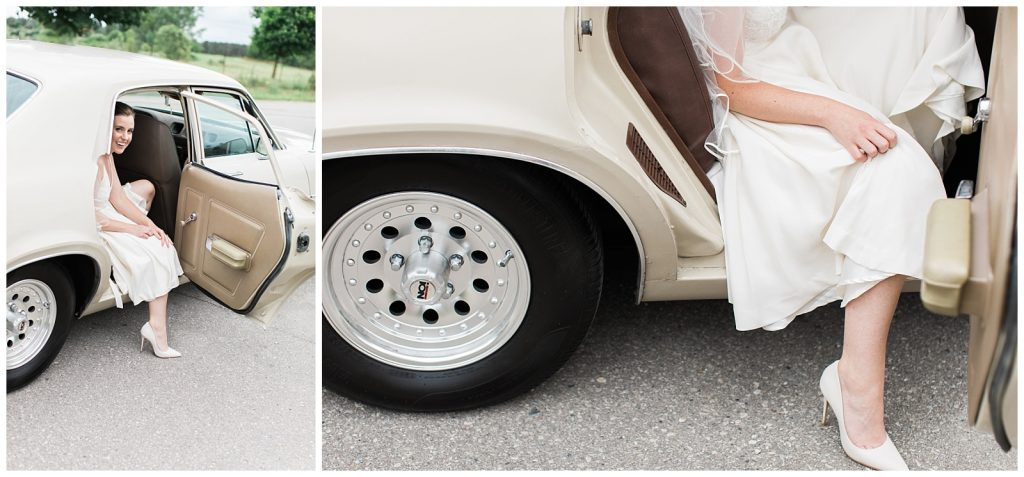 Bride leaning out of vintage car with dress and heels at Guelph Ontario Wedding | Ontario Wedding Photographer | Toronto Wedding Photographer | 3photography