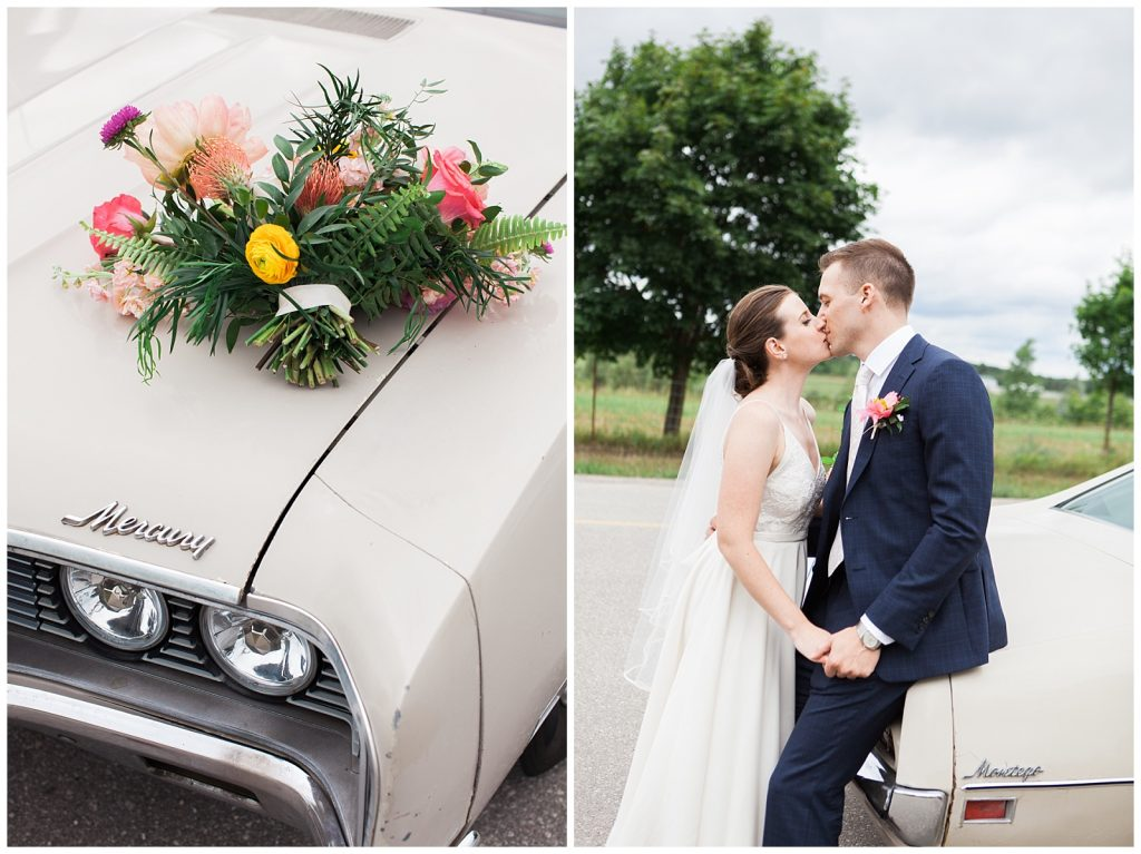 Bouquet sitting on front of vintage car/ bride and groom kissing on vintage car at Guelph Ontario Wedding | Ontario Wedding Photographer | Toronto Wedding Photographer | 3photography
