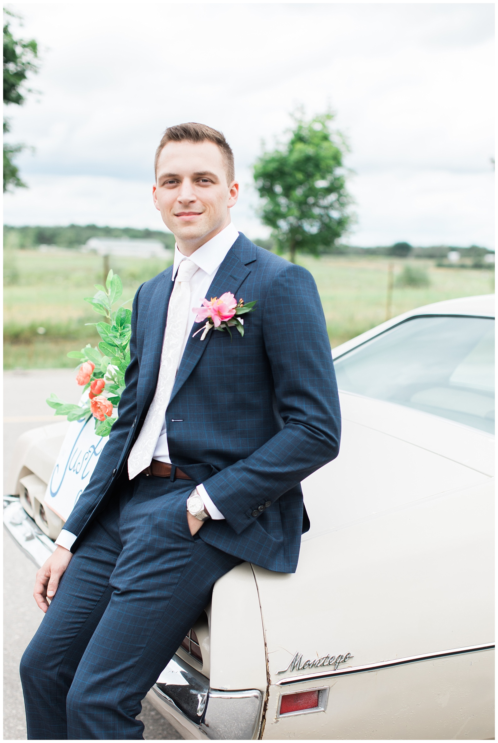Groom sitting on vintage car at Guelph Ontario Wedding | Ontario Wedding Photographer | Toronto Wedding Photographer | 3photography