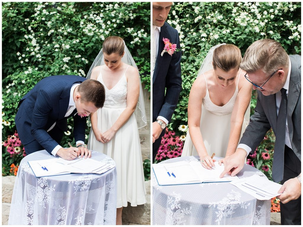 Bride and groom signing marriage license at Guelph Ontario Wedding | Ontario Wedding Photographer | Toronto Wedding Photographer | 3photography