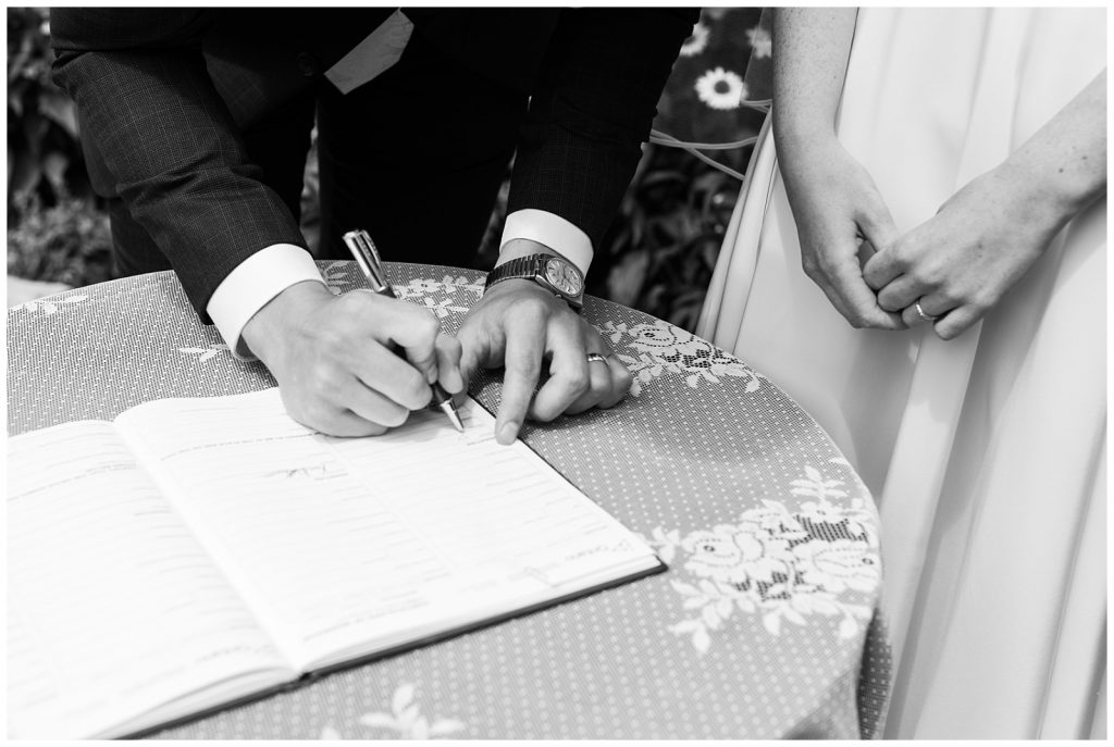 Black and white close up of signing marriage license at Guelph Ontario Wedding | Ontario Wedding Photographer | Toronto Wedding Photographer | 3photography