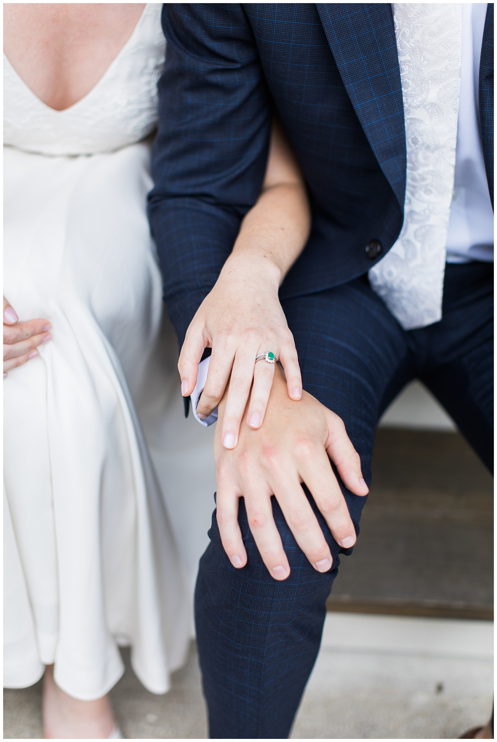 Close up of bride and groom interlacing arms and showing her ring at Guelph Ontario Wedding | Ontario Wedding Photographer | Toronto Wedding Photographer | 3photography