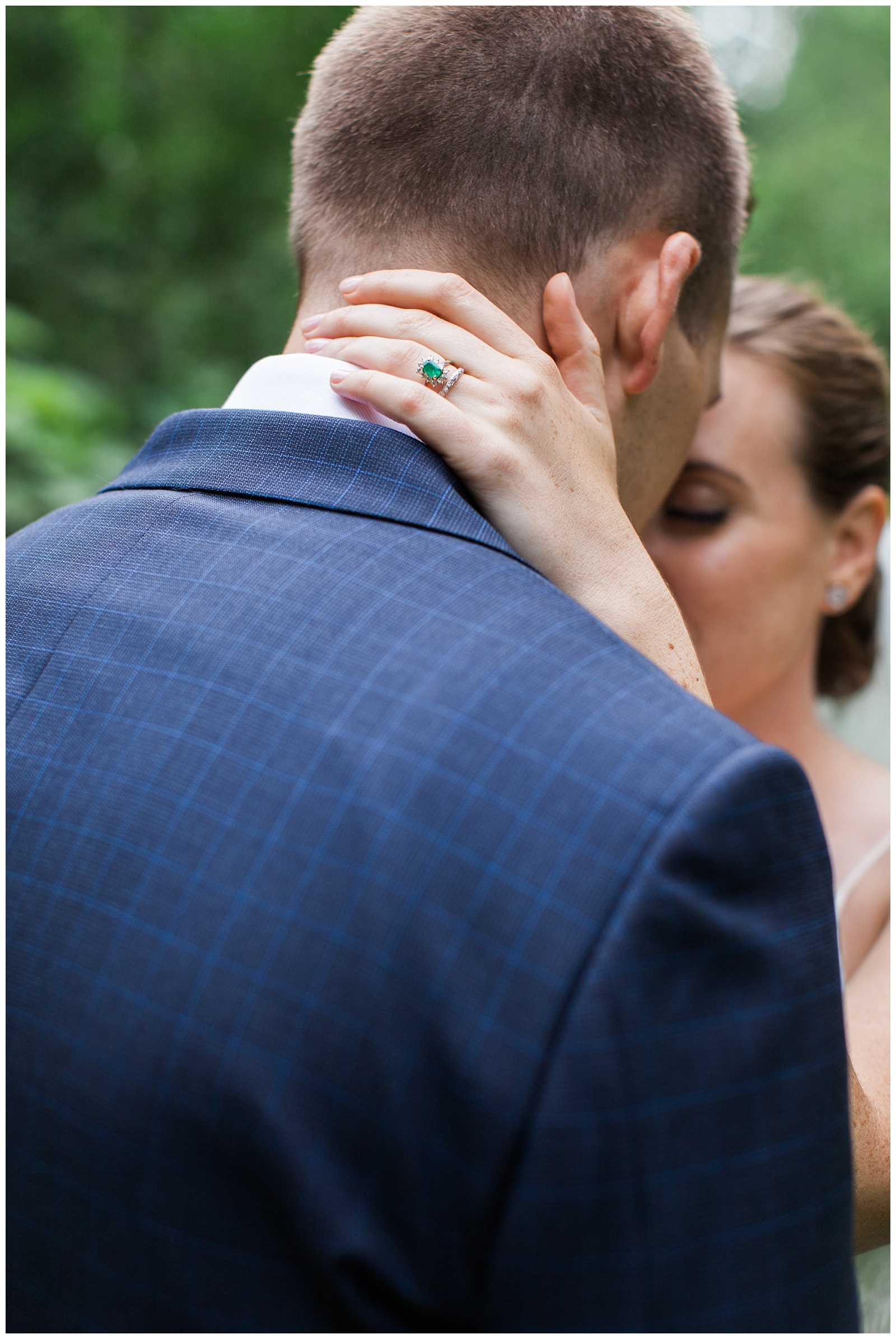 Bride hand gently around groom's neck at Guelph Ontario Wedding | Ontario Wedding Photographer | Toronto Wedding Photographer | 3photography