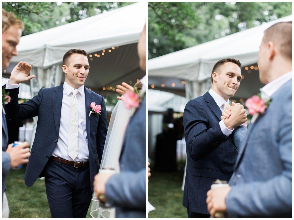 Groom greeting his groomsmen at reception at Guelph Ontario Wedding | Ontario Wedding Photographer | Toronto Wedding Photographer | 3photography