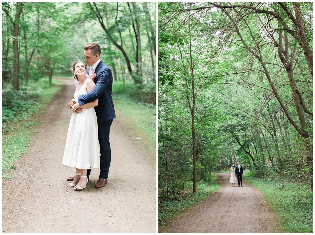 Bride and groom on dirt road lined with trees at Guelph Ontario Wedding | Ontario Wedding Photographer | Toronto Wedding Photographer | 3photography