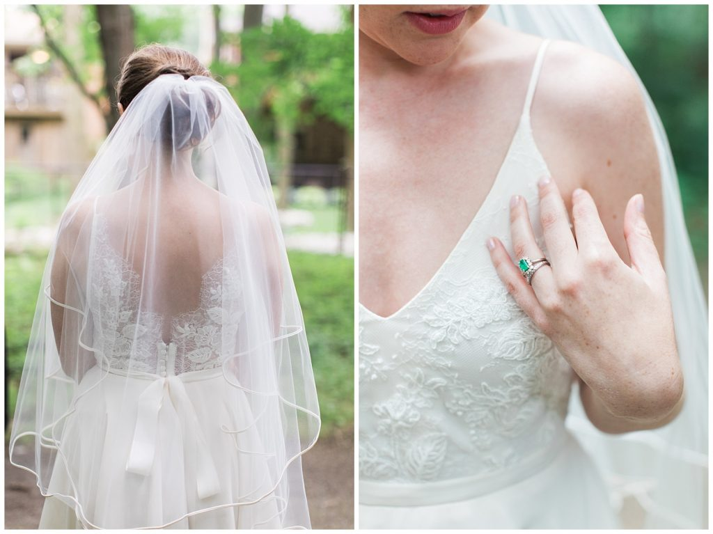 Bridal gown and veil details at Guelph Ontario Wedding | Ontario Wedding Photographer | Toronto Wedding Photographer | 3photography