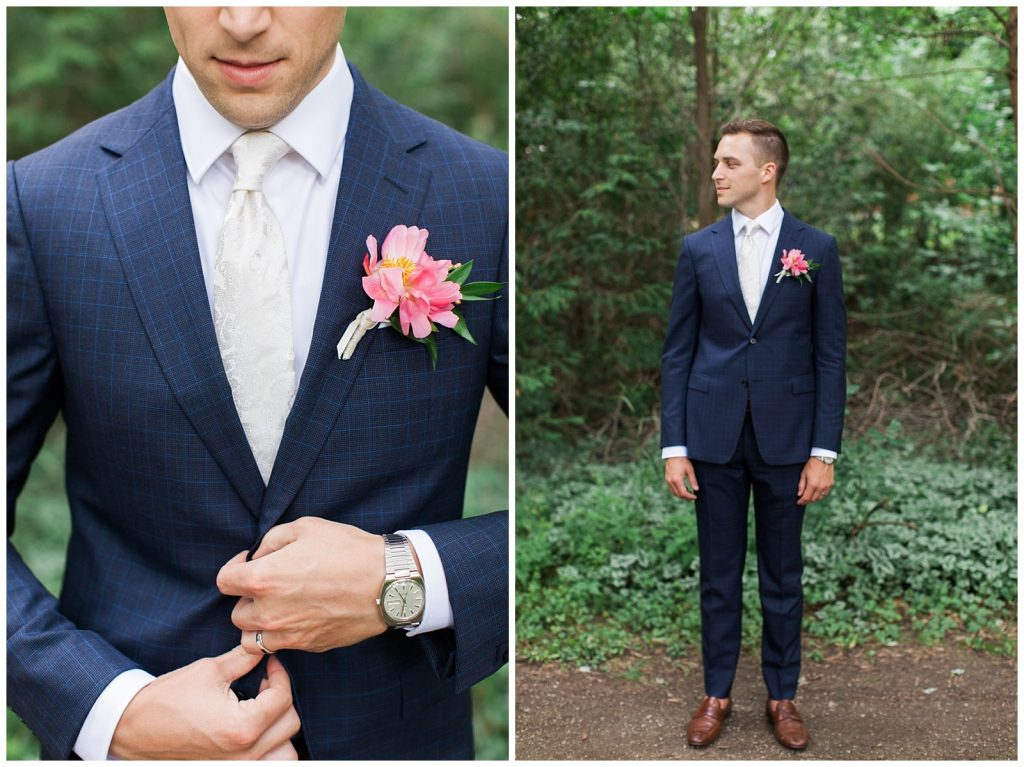 Groom attire navy pinstripe suit at Guelph Ontario Wedding | Ontario Wedding Photographer | Toronto Wedding Photographer | 3photography