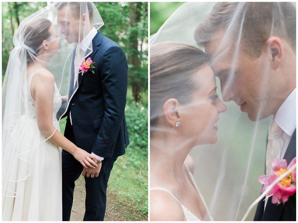 Bride and groom nuzzles under veil at Guelph Ontario Wedding | Ontario Wedding Photographer | Toronto Wedding Photographer | 3photography