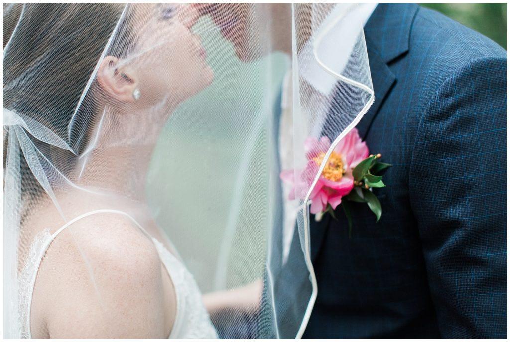 Bride and groom kiss under veil at Guelph Ontario Wedding | Ontario Wedding Photographer | Toronto Wedding Photographer | 3photography