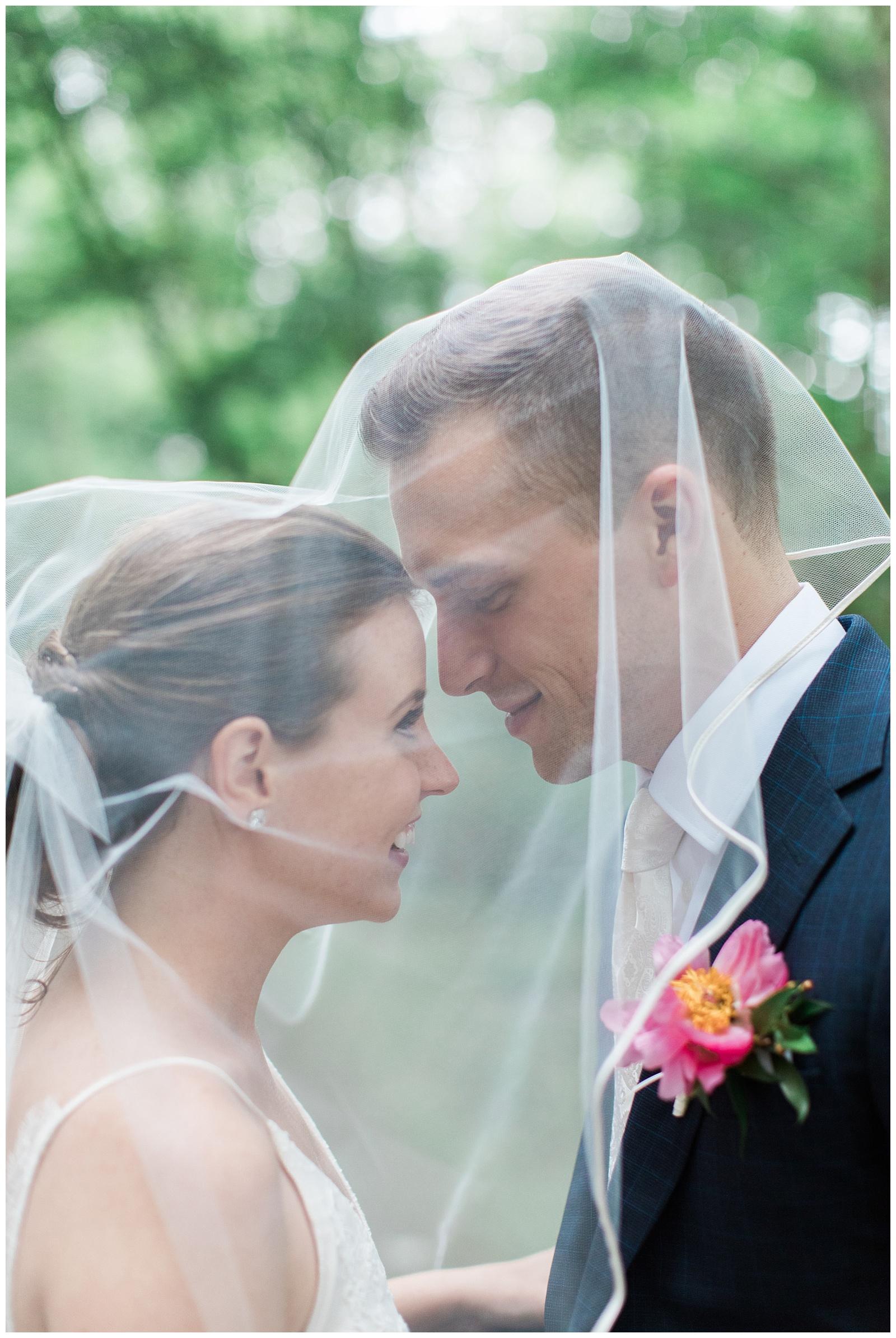 Bride and groom under veil at Guelph Ontario Wedding | Ontario Wedding Photographer | Toronto Wedding Photographer | 3photography