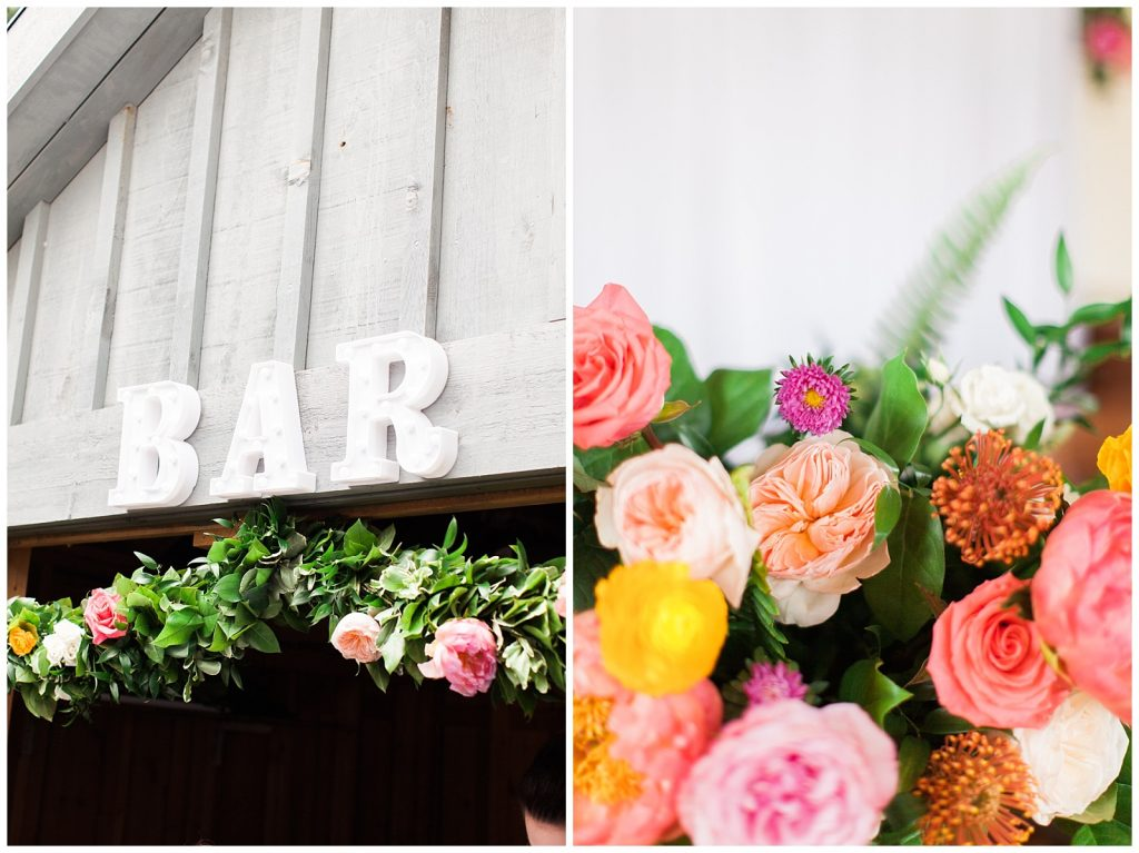 Bar entry, garland and florals at reception at Guelph Ontario Wedding | Ontario Wedding Photographer | Toronto Wedding Photographer | 3photography